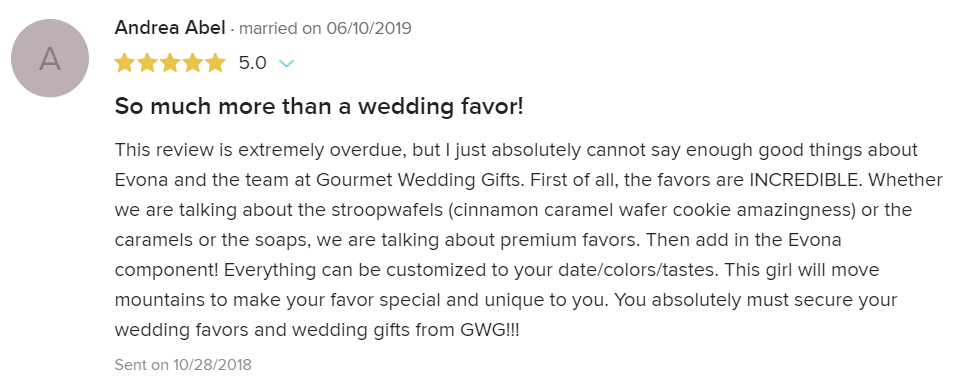 Gourmet Wedding Gifts Client Review personalized party favors and customized gifts