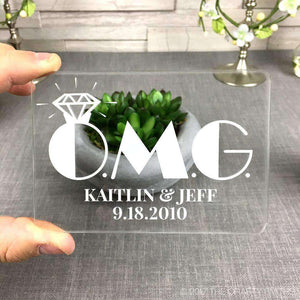 "Personalized Clear Acrylic Save the Dates - ""OMG"" Design-Gourmet Wedding Gifts Personalized custom party favors and corporate event gifts"