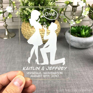 Personalized Clear Acrylic Save the Dates - OMG Silhouettes Design-Gourmet Wedding Gifts Personalized custom party favors and corporate event gifts