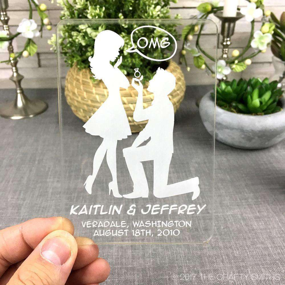 Personalized Clear Acrylic Save the Dates - OMG Silhouettes Design