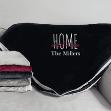 "Load image into Gallery viewer, Personalized ""Home Sweet Home"" Sherpa Blanket-Gourmet Wedding Gifts Personalized custom party favors and corporate event gifts"