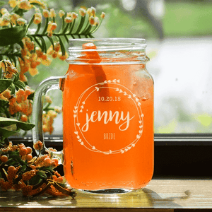 Personalized Bridal Party Mason Jar Glass
