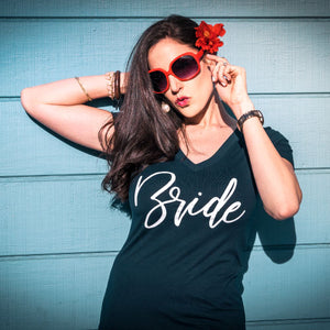 "Premium Fitted ""Bride"" V Neck-Gourmet Wedding Gifts and Wedding Favors for guests"