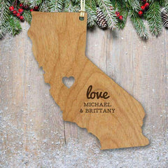 "Custom Engraved ""Love"" State Wood Ornament with Heart Cutout-Ornaments Gourmet Wedding Gifts and edible wedding favors"