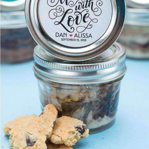Personalized Chocolate Chip Caramel Cookie Cake Jars-Gourmet Wedding Gifts Personalized custom party favors and corporate event gifts