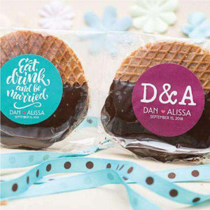 Personalized Round Stroopwafel Cookie Favors-Gourmet Wedding Gifts Personalized custom party favors and corporate event gifts