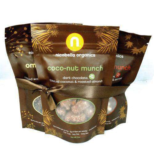 Organic Dark Chocolate Munch Snack Bags-Wedding Favors Gourmet Wedding Gifts and edible wedding favors
