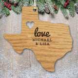 "Custom Engraved ""Love"" State Wood Ornament with Heart Cutout-Gourmet Edible Wedding Gifts and Wedding Favors"