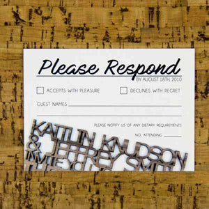 Wedding RSVP Cards - Wood Cut Design-Gourmet Wedding Gifts Personalized custom party favors and corporate event gifts