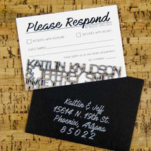 Load image into Gallery viewer, Wedding RSVP Cards - Wood Cut Design