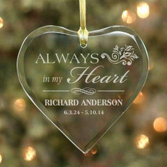 "Custom Engraved Glass Heart ""Always In My Heart"" Memorial Ornament-Ornaments Gourmet Wedding Gifts and edible wedding favors"