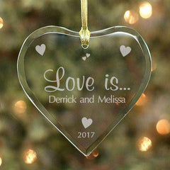 "Custom Engraved ""Love Is"" Glass Heart Ornament-Ornaments Gourmet Wedding Gifts and edible wedding favors"