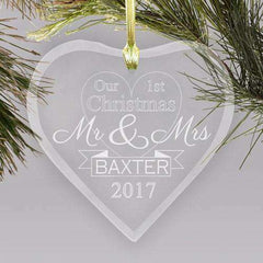 "Custom Engraved Mr & Mrs ""Our First Christmas"" Glass Heart Ornament-Ornaments Gourmet Wedding Gifts and edible wedding favors"