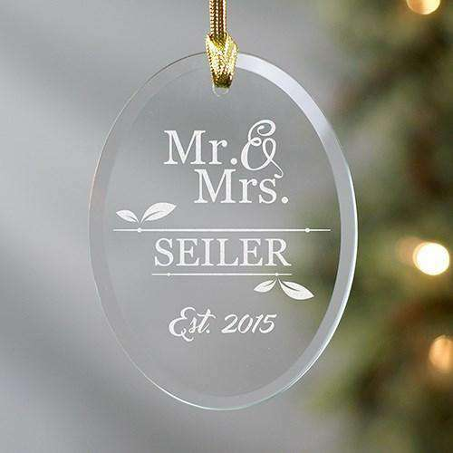 Custom Engraved Mr & Mrs Oval Glass Ornament-Ornaments Gourmet Wedding Gifts and edible wedding favors