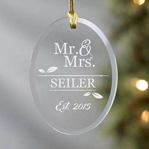Custom Engraved Mr & Mrs Oval Glass Ornament-Gourmet Wedding Gifts Personalized custom party favors and corporate event gifts