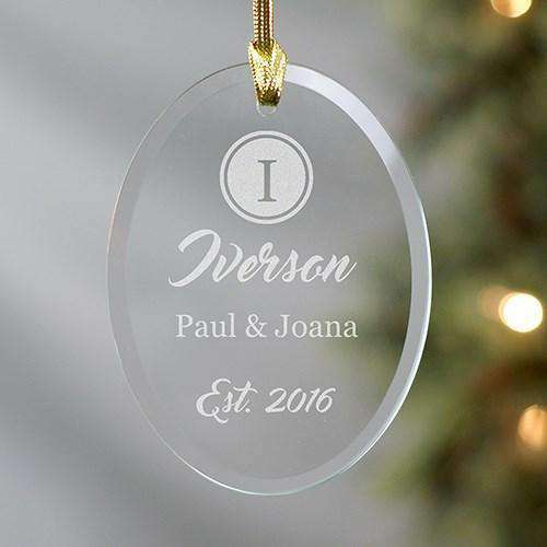 Custom Engraved Name & Initial Oval Glass Ornament