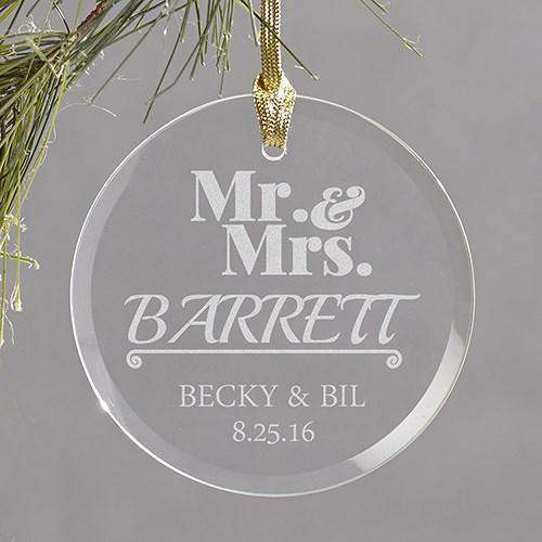 Custom Engraved Round Glass Ornament-Gourmet Wedding Gifts Personalized custom party favors and corporate event gifts