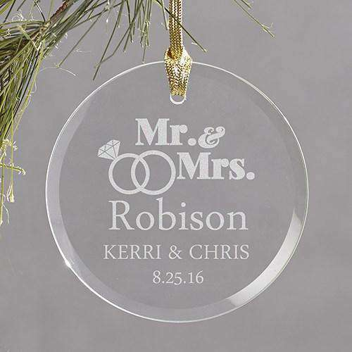 Custom Engraved Wedding Rings Round Glass Ornament-Gourmet Wedding Gifts and Wedding Favors for guests