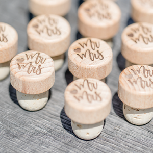 Custom Engraved Wine Corks Unique Rustic Wedding Party Favors
