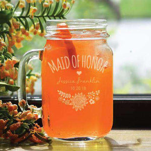 Personalized Boho Bridal Party Mason Jar Glass-Gourmet Wedding Gifts Personalized custom party favors and corporate event gifts