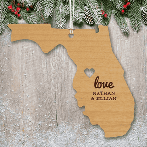 Custom Engraved Home State Wood Ornament-Gourmet Wedding Gifts Personalized custom party favors and corporate event gifts