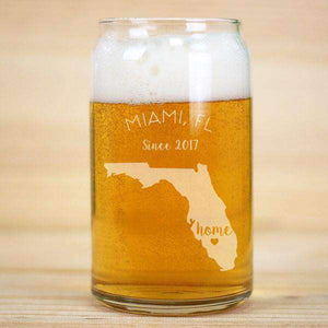 Personalized Home State Beer Can Glass with Heart
