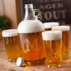 Custom Engraved Initial Beer Growler Set with 4 Glasses-Drinkware Gourmet Wedding Gifts and edible wedding favors