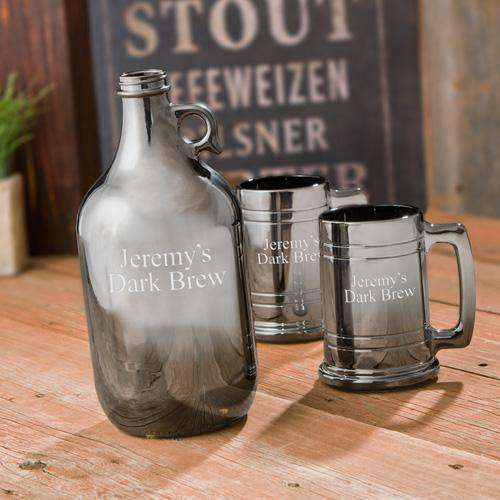 Personalized Gunmetal Beer Growler Set with 2 Beer Steins-Gourmet Wedding Gifts and Wedding Favors for guests