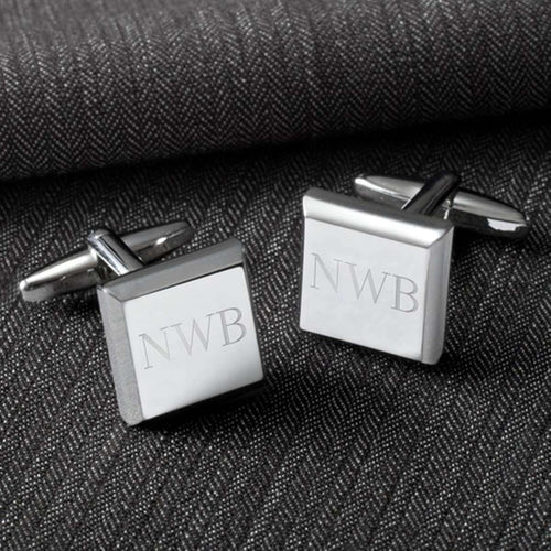 Custom Engraved Modern Square Cufflinks-Gourmet Wedding Gifts and Wedding Favors for guests