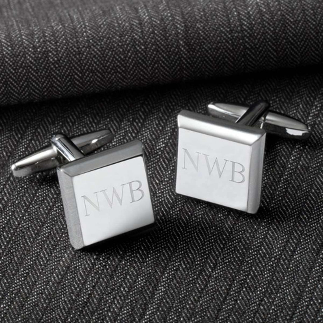 Custom Engraved Modern Square Cufflinks