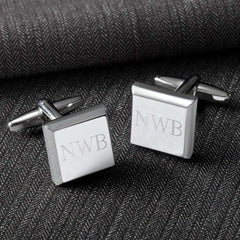 Custom Engraved Modern Square Cufflinks-Cufflinks Gourmet Wedding Gifts and edible wedding favors