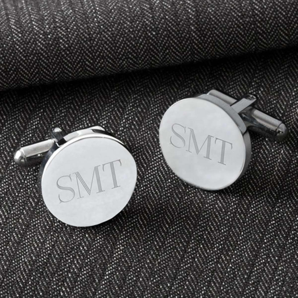 Custom Engraved Classic Round Cufflinks-Cufflinks Gourmet Wedding Gifts and edible wedding favors
