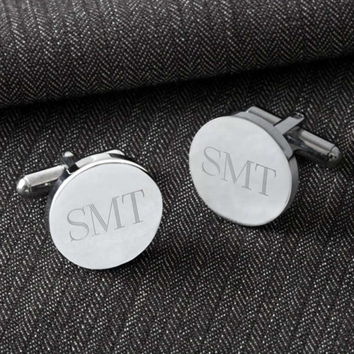 Custom Engraved Classic Round Cufflinks-Gourmet Wedding Gifts and Wedding Favors for guests
