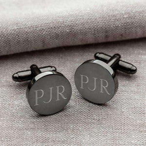 Custom Engraved Round Gunmetal Cufflinks-Gourmet Wedding Gifts Personalized custom party favors and corporate event gifts