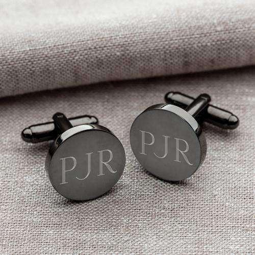 Custom Engraved Round Gunmetal Cufflinks-Gourmet Wedding Gifts and Wedding Favors for guests