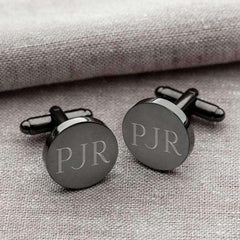 Custom Engraved Round Gunmetal Cufflinks-Cufflinks Gourmet Wedding Gifts and edible wedding favors