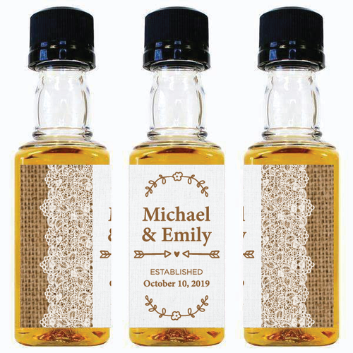 Personalized Mini Liquor Bottles and Custom Labels-Gourmet Wedding Gifts and Wedding Favors for guests