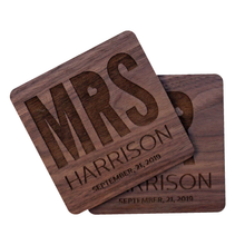 Load image into Gallery viewer, Personalized Mr & Mrs Walnut Wood Coaster Set