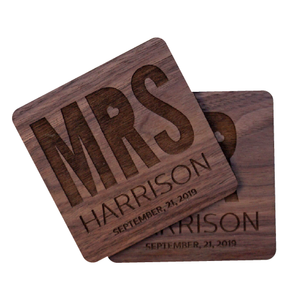 Personalized Mr & Mrs Walnut Wood Coaster Set