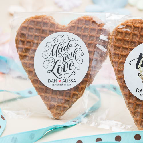 Gifts For Wedding Guests: Personalized Heart Stroopwafel Party Favors