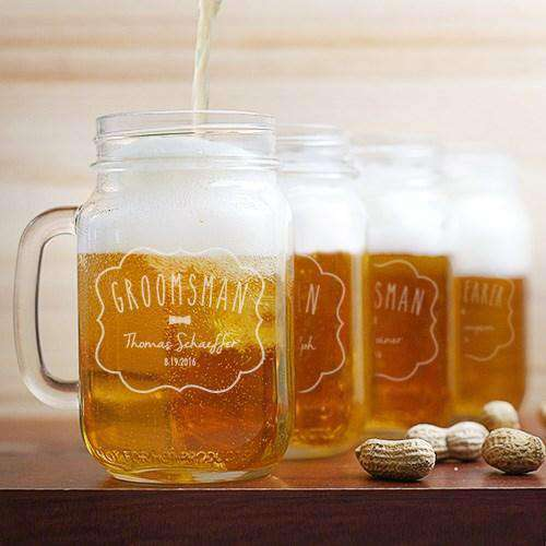 Personalized Groomsmen Wedding Party Mason Jar Glass-Gourmet Wedding Gifts and Wedding Favors for guests