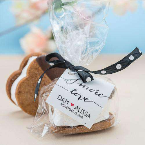 Personalized Artisan Heart S'mores Gift Bags-Gourmet Wedding Gifts Personalized custom party favors and corporate event gifts