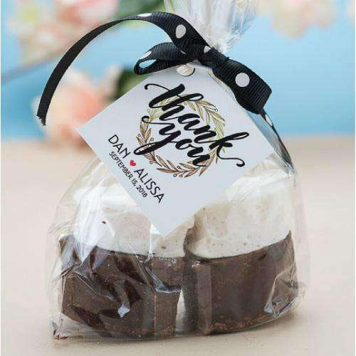 Personalized Hot Chocolate and Marshmallow Stick-Wedding Favors Gourmet Wedding Gifts and edible wedding favors