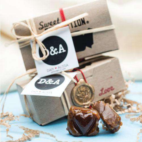 Personalized Organic Caramel Gift Box Favors-Gourmet Wedding Gifts Personalized custom party favors and corporate event gifts