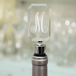 Personalized Acrylic Wine Bottle Stopper - Script Monogram-Gourmet Wedding Gifts Personalized custom party favors and corporate event gifts