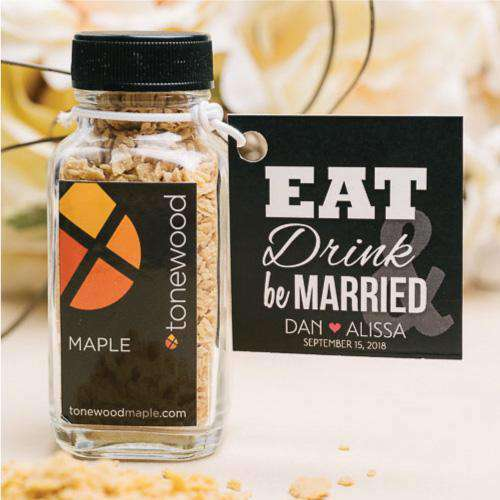 100% Pure Maple Sugar Flake Jar Favors-Gourmet Wedding Gifts Personalized custom party favors and corporate event gifts