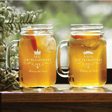 Personalized King and Queen Mason Jar Glass Set