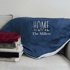"Personalized ""Home Sweet Home"" Sherpa Blanket-Gourmet Wedding Gifts Personalized custom party favors and corporate event gifts"