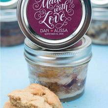 Load image into Gallery viewer, Personalized Cookie Cake Jar Favors - PB&J-Gourmet Wedding Gifts Personalized custom party favors and corporate event gifts