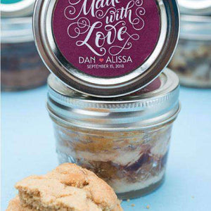 Personalized Cookie Cake Jar Favors - PB&J-Gourmet Wedding Gifts Personalized custom party favors and corporate event gifts